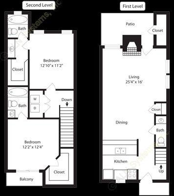 1,080 sq. ft. B5 floor plan