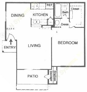 594 sq. ft. B floor plan