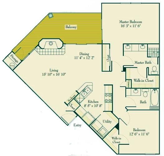 1,189 sq. ft. to 1,301 sq. ft. B2 floor plan