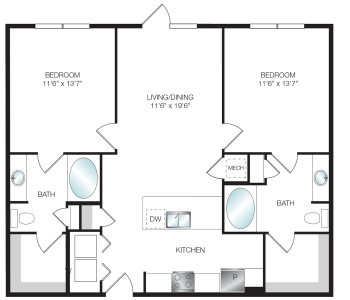 1,073 sq. ft. B1.1 floor plan