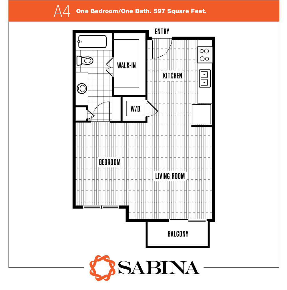 597 sq. ft. A4 floor plan