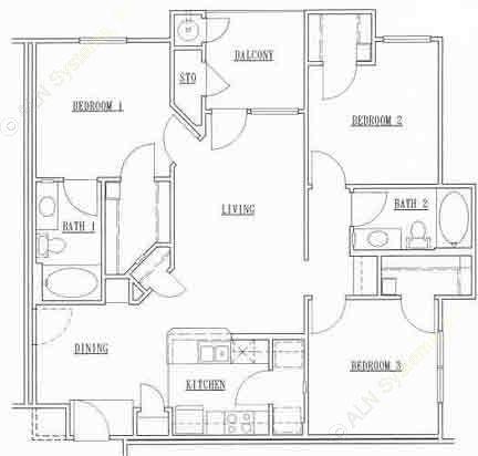 1,141 sq. ft. 32C floor plan