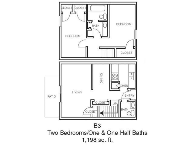 980 sq. ft. B2 floor plan