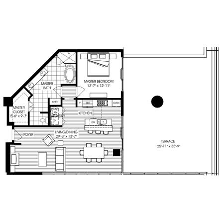 1,125 sq. ft. B502 floor plan