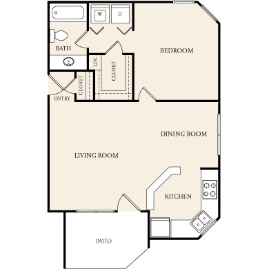 763 sq. ft. A-2 floor plan