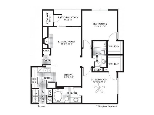 1,000 sq. ft. B1b floor plan