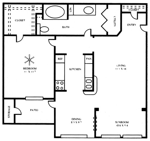 862 sq. ft. A2S floor plan