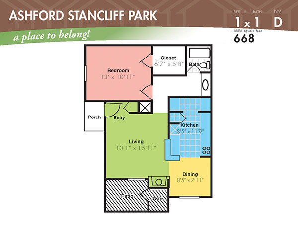 668 sq. ft. D floor plan