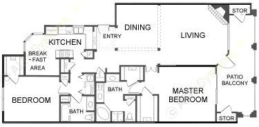 1,667 sq. ft. B2 floor plan