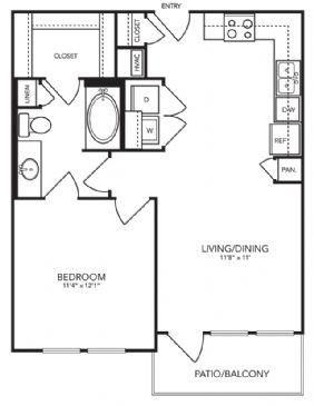 654 sq. ft. A2 floor plan