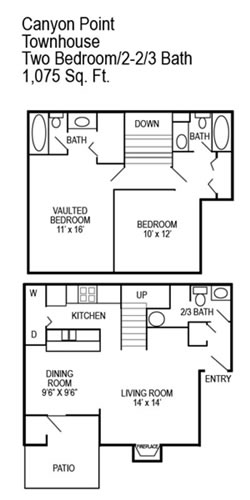 1,075 sq. ft. E floor plan