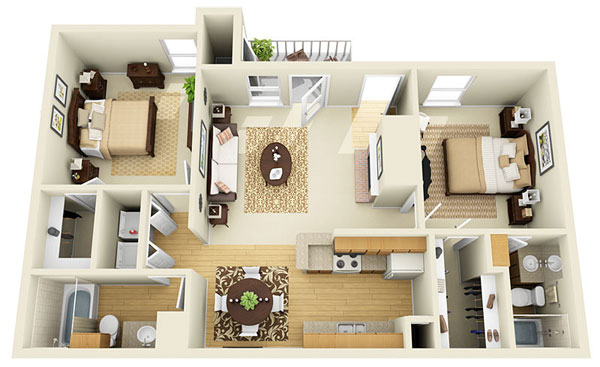 920 sq. ft. D floor plan