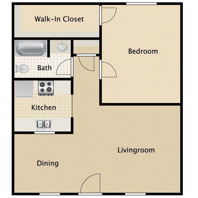 715 sq. ft. Concord floor plan