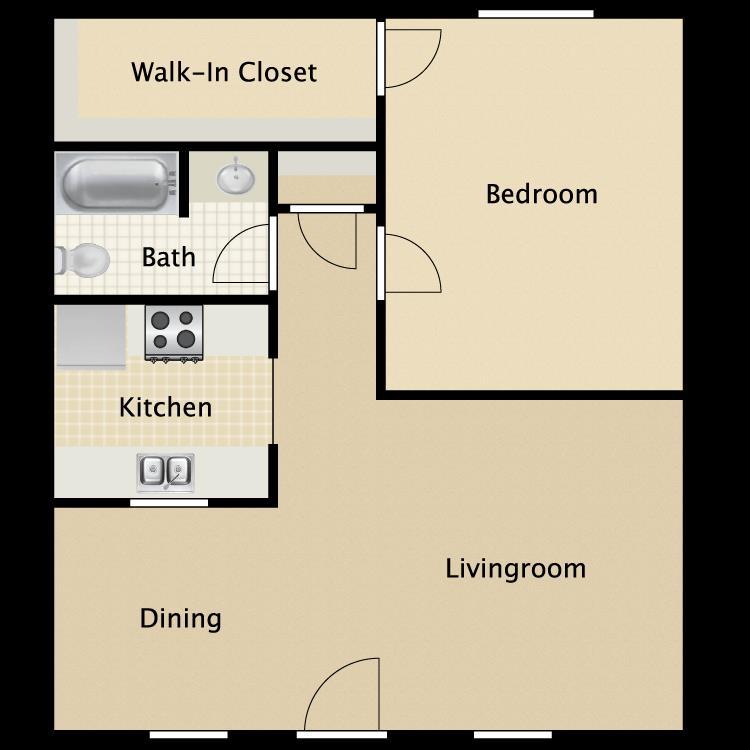 715 sq. ft. Concord floor plan