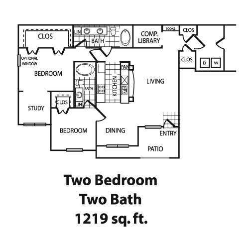 1,219 sq. ft. B5 floor plan