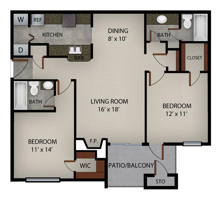 1,013 sq. ft. El Dorado floor plan