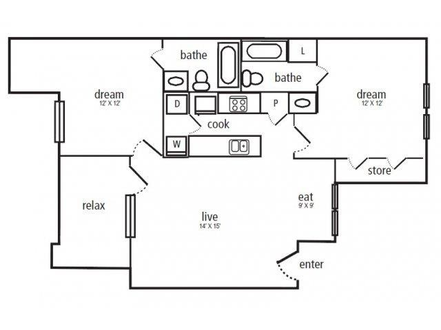 875 sq. ft. B-1 floor plan