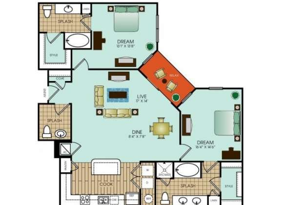 1,298 sq. ft. B13 floor plan