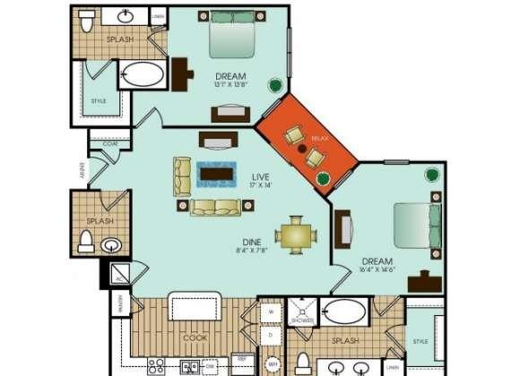 1,298 sq. ft. B13 floor plan