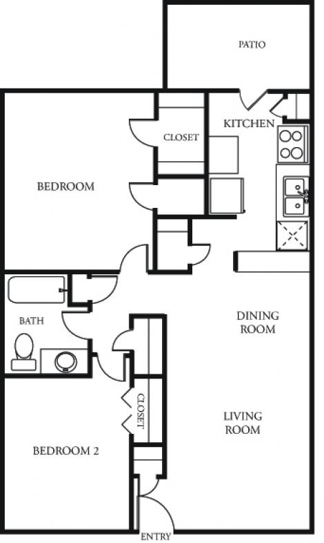 900 sq. ft. D/E floor plan