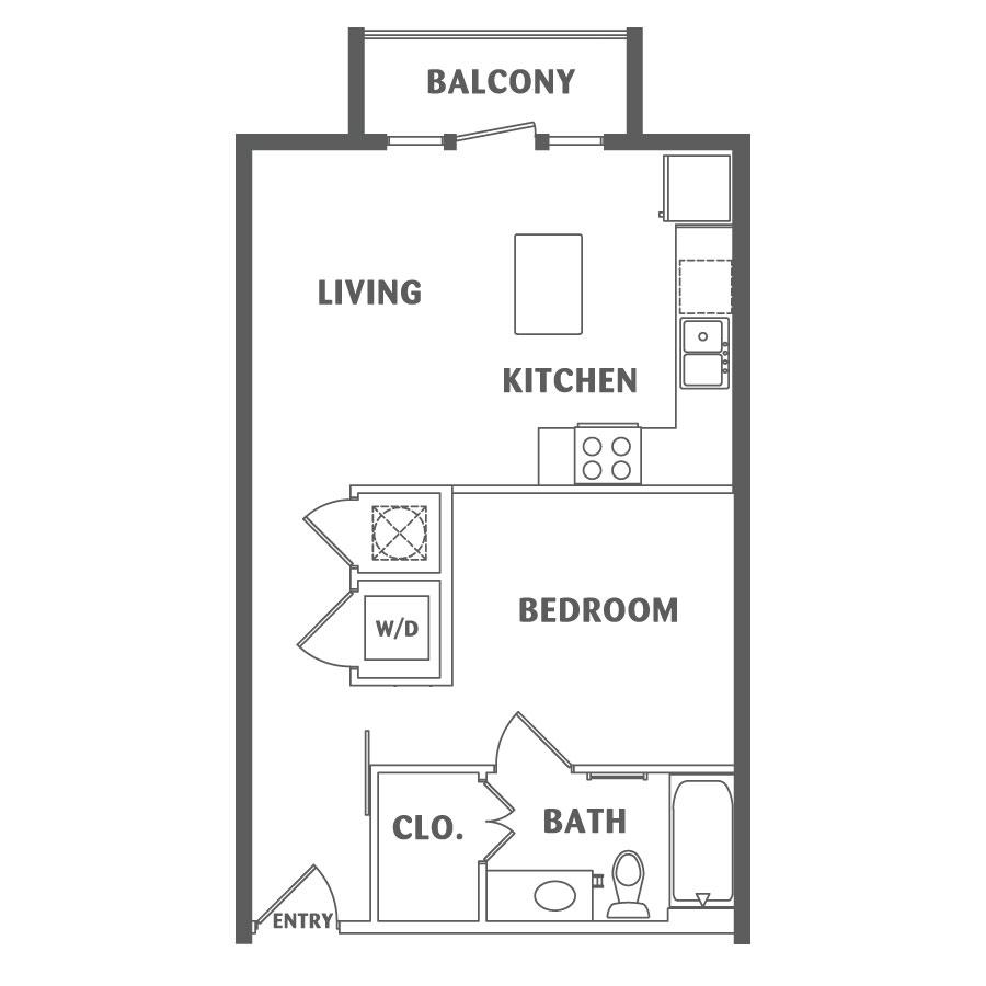 572 sq. ft. E2 floor plan