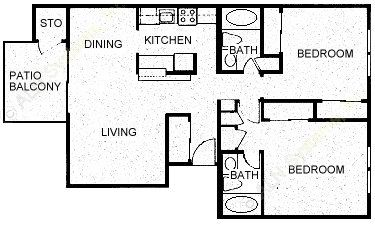 977 sq. ft. B2 floor plan