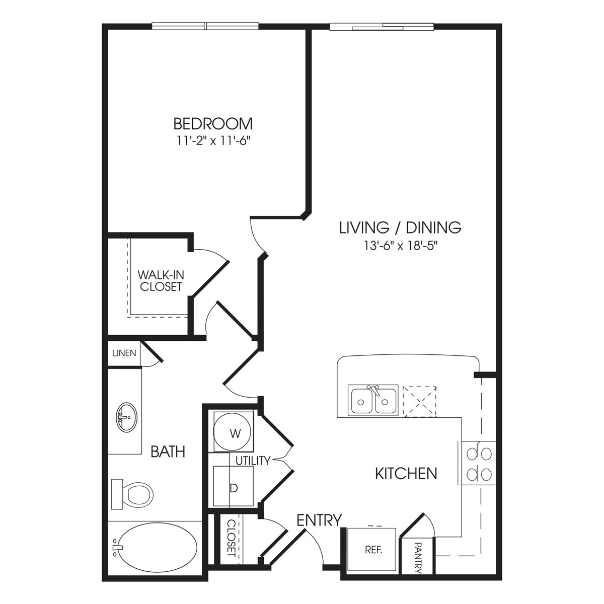 720 sq. ft. Abbey Road floor plan