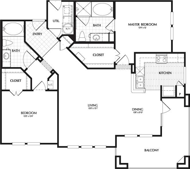 1,281 sq. ft. GRANDVIEW floor plan