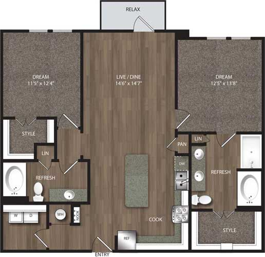1,243 sq. ft. B3 floor plan