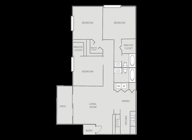 1,168 sq. ft. Hampton/Mkt floor plan