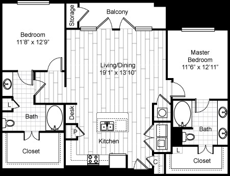 1,264 sq. ft. 22F3 floor plan