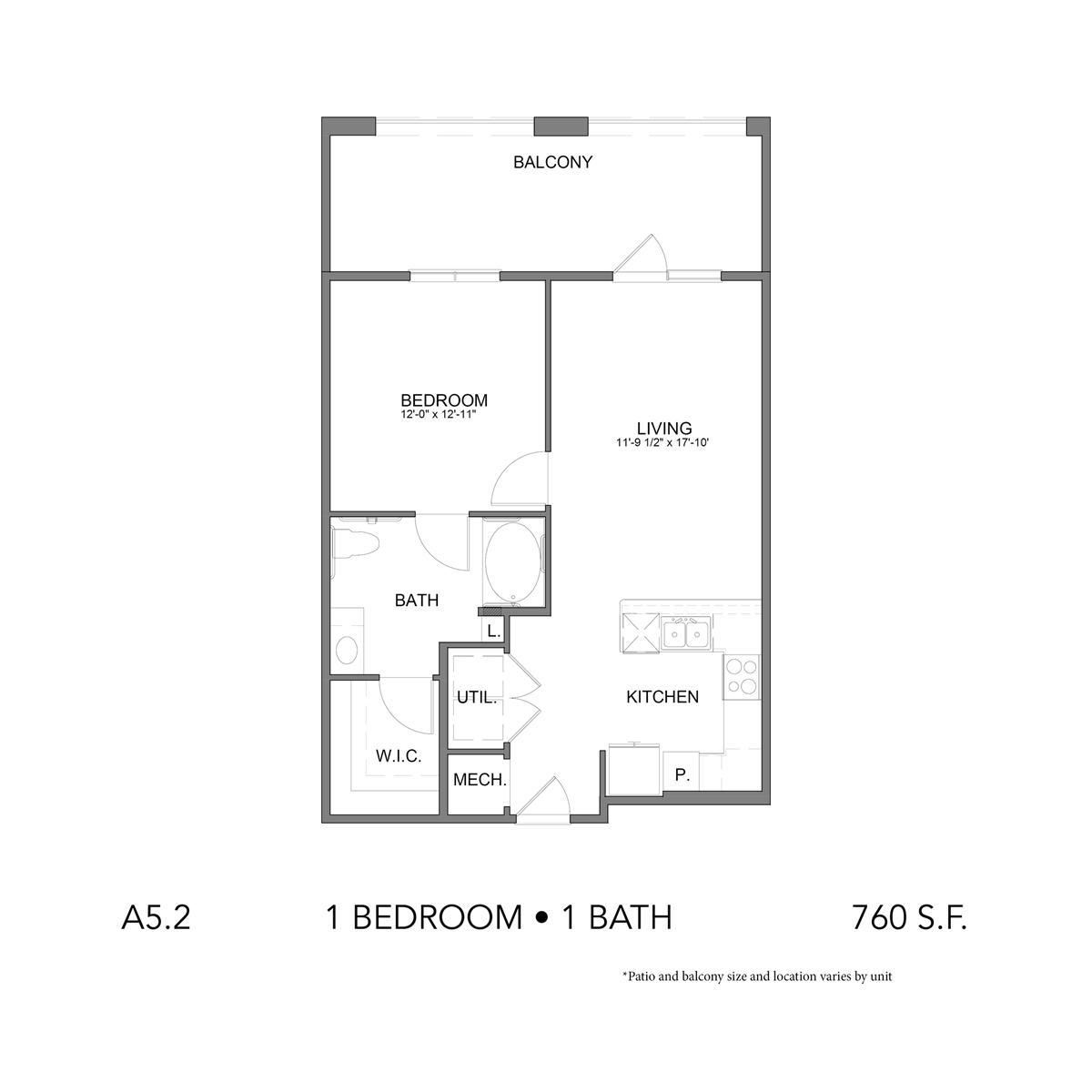 760 sq. ft. A5.2 floor plan