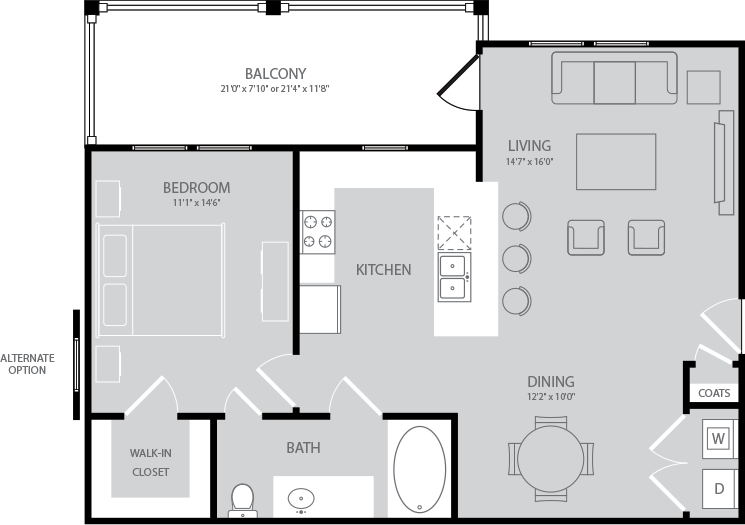 804 sq. ft. Byron floor plan