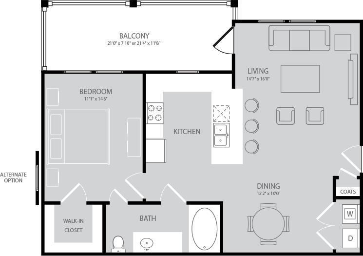 804 sq. ft. Byron floor plan