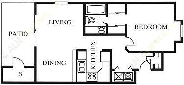 674 sq. ft. A3 floor plan