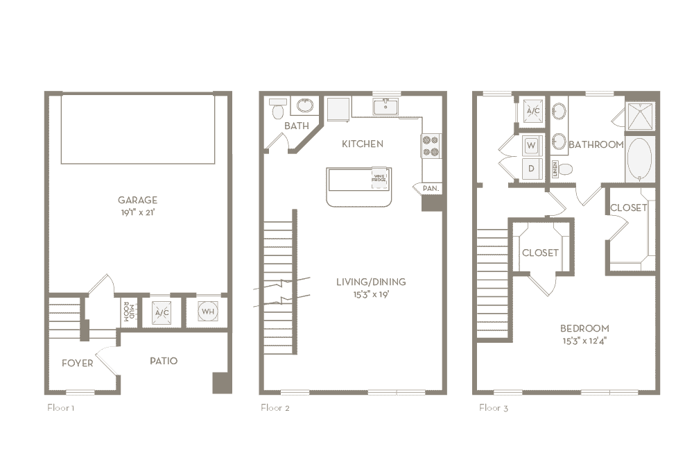 1,309 sq. ft. TH1 floor plan