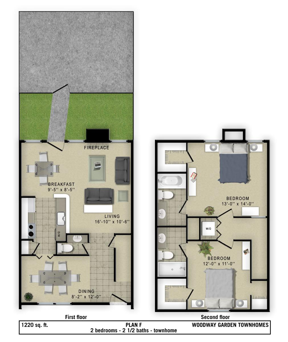 1,220 sq. ft. to 1,400 sq. ft. F/D floor plan