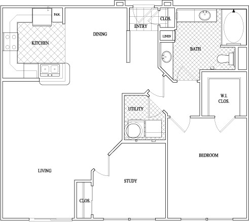 1,011 sq. ft. to 1,040 sq. ft. floor plan