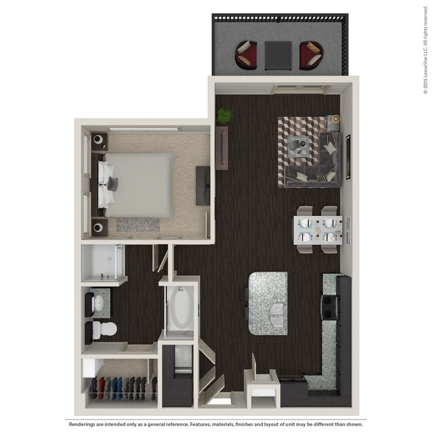 758 sq. ft. A2.4 floor plan