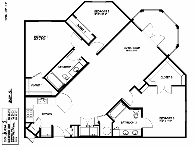 1,408 sq. ft. C1 floor plan