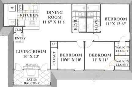 1,185 sq. ft. B3 floor plan