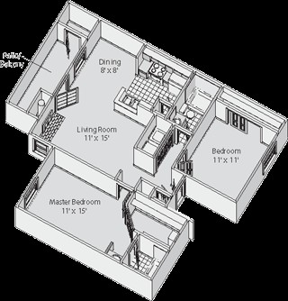 954 sq. ft. D floor plan