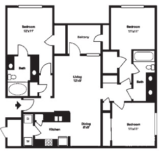 1,284 sq. ft. G floor plan