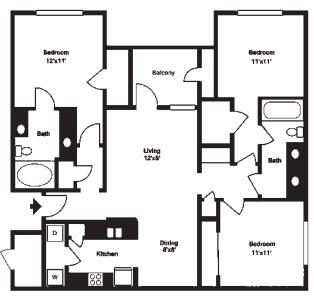 1,284 sq. ft. G floor plan