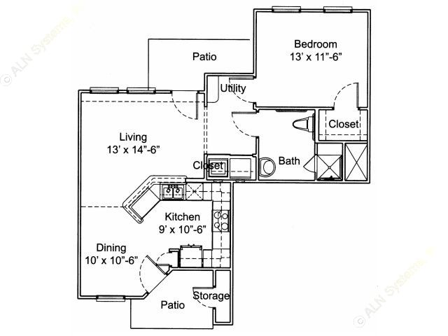 808 sq. ft. A1/60% floor plan
