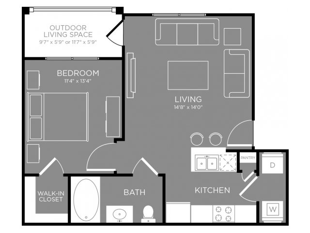 608 sq. ft. Gardenia floor plan