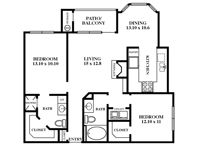 1,123 sq. ft. Red Oak floor plan