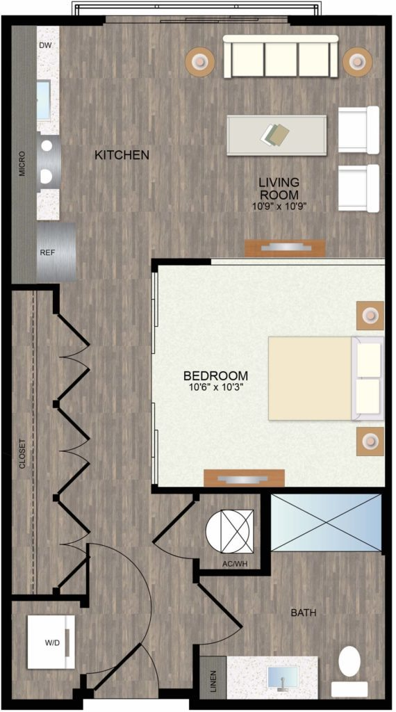 581 sq. ft. Bluebell floor plan