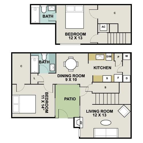 1,158 sq. ft. B2 floor plan