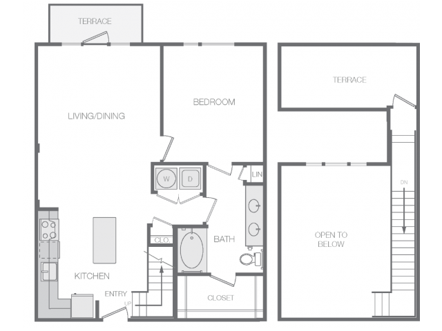 888 sq. ft. to 900 sq. ft. Em floor plan
